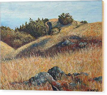 Golden Hills Wood Print