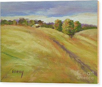 Wood Print featuring the painting Golden Hills by Sally Simon