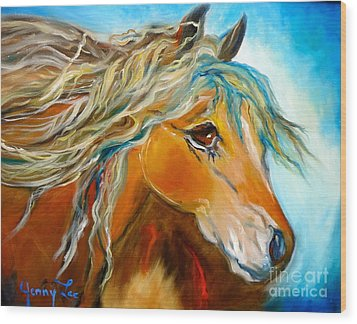 Wood Print featuring the painting Golden Horse by Jenny Lee