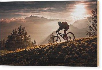 Golden Hour Biking Wood Print by Sandi Bertoncelj