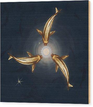 Golden Koi And Lotus Wood Print