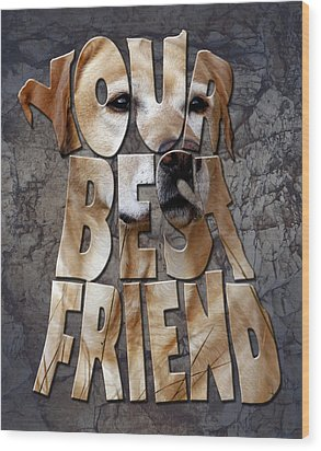 Golden Labrador Retriever Typography Art Wood Print by Georgeta Blanaru