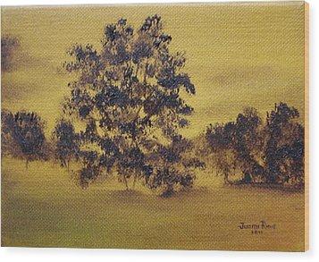 Golden Landscape Wood Print