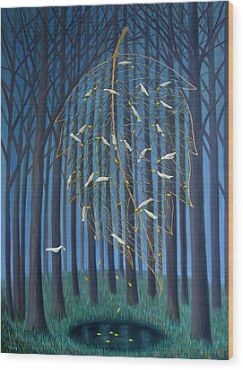 Wood Print featuring the painting Golden Leaf by Tone Aanderaa