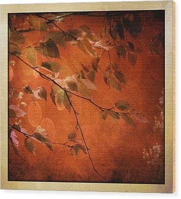 Wood Print featuring the digital art Golden Leaves-1 by Nina Bradica