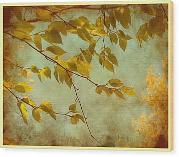 Wood Print featuring the digital art Golden Leaves-2 by Nina Bradica