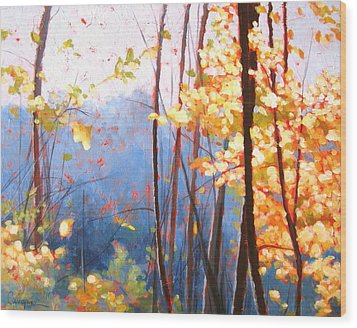 Golden Leaves Wood Print by Carlynne Hershberger