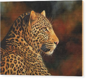 Golden Leopard Wood Print by David Stribbling