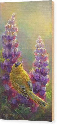 Golden Light 1 Wilsons Warbler And Lupine Wood Print by Karen Whitworth