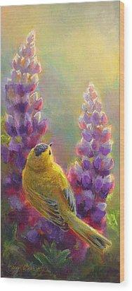 Golden Light 1 Wilsons Warbler And Lupine Wood Print