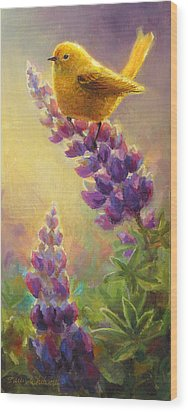 Golden Light 2 Wilsons Warbler And Lupine Wood Print by Karen Whitworth