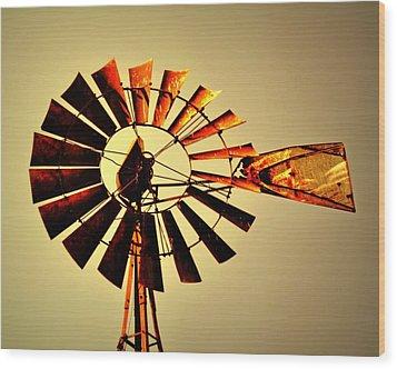 Golden Light Windmill Wood Print by Marty Koch