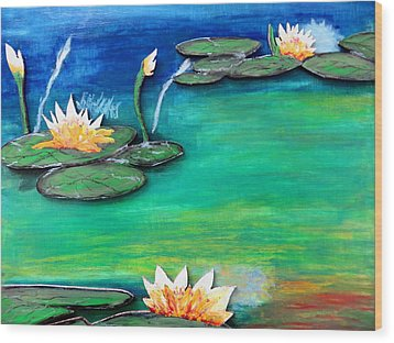 Golden Lillies Wood Print
