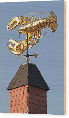 Golden Lobster Weathervane Wood Print by Juergen Roth