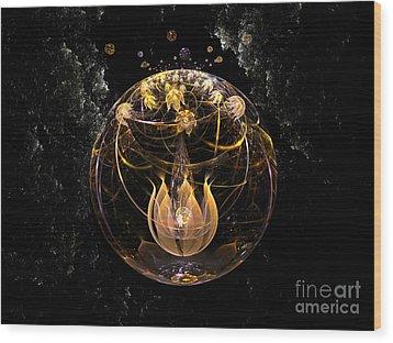 Golden Lotus In Deep Space Wood Print by Peter R Nicholls