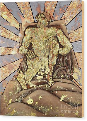 Golden Man On The Precipice Wood Print