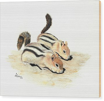 Golden-mantled Ground Squirrels Wood Print by Lynn Quinn