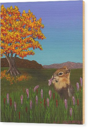 Golden Mantled Squirrel Wood Print