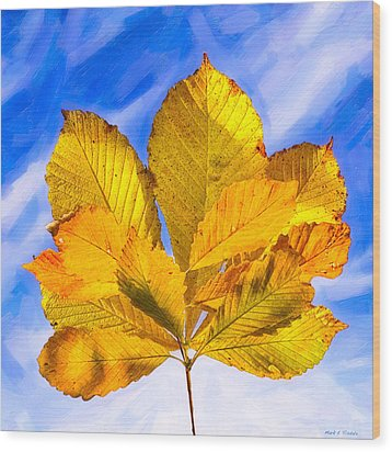 Golden Memories Of Fall Wood Print by Mark E Tisdale