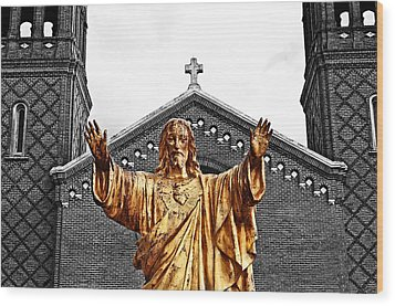 Golden Messiah Wood Print by Andy Crawford