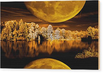 Golden Moon Pond Wood Print