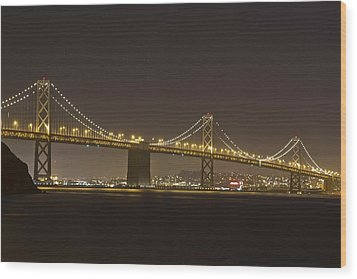 Golden Night On The Bay Wood Print by Miguel  Uribe