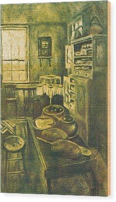 Golden Old Fashioned Kitchen Wood Print by Kendall Kessler