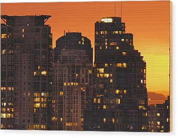 Wood Print featuring the photograph Golden Orange Cityscape Dccc by Amyn Nasser