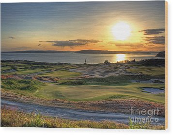 Wood Print featuring the photograph Golden Orb - Chambers Bay Golf Course by Chris Anderson