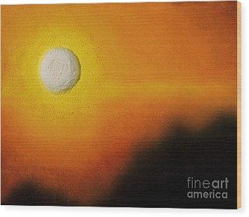 Golden Orb Sunset Wood Print