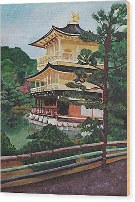 Golden Pavilion Wood Print by Michelle Erin Dominado