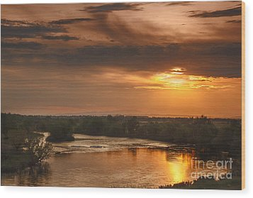 Golden Payette River Wood Print by Robert Bales