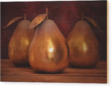 Golden Pears I Wood Print