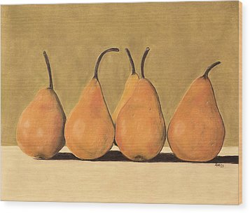 Wood Print featuring the pastel Golden Pears  by Jan Amiss