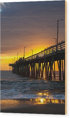 Wood Print featuring the photograph Golden Pier by Dawn Romine