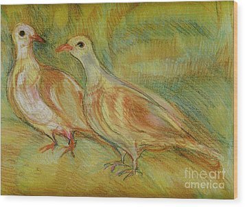 Golden Pigeons Wood Print
