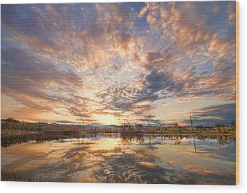 Golden Ponds Scenic Sunset Reflections 3 Wood Print by James BO  Insogna
