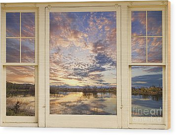 Golden Ponds Scenic Sunset Reflections 4 Yellow Window View Wood Print by James BO  Insogna