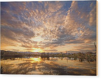 Golden Ponds Scenic Sunset Reflections 5 Wood Print by James BO  Insogna