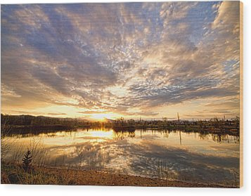 Golden Ponds Scenic Sunset Reflections Wood Print by James BO  Insogna