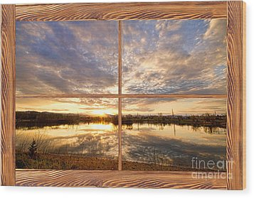 Golden Ponds Sunset Reflections  Barn Wood Picture Window View Wood Print by James BO  Insogna