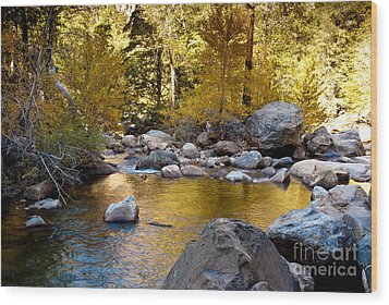 Golden Pool On Roaring River  1-7797 Wood Print