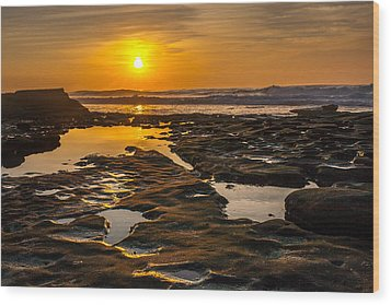 Golden Pools Wood Print by Peter Tellone