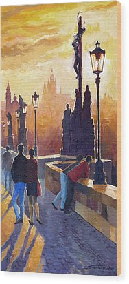 Golden Prague Charles Bridge Wood Print by Yuriy Shevchuk