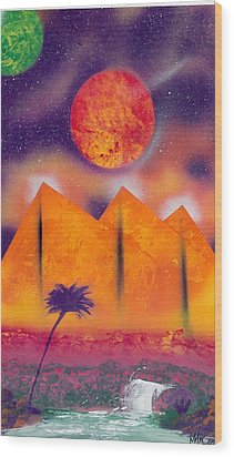 Golden Pyramid Sunrise Wood Print by Marc Chambers