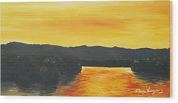 Golden Reflections Wood Print by Monica Veraguth