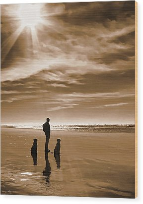 Golden Retriever Dogs End Of The Day Sepia Wood Print by Jennie Marie Schell