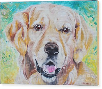Golden Retriever Wood Print by PainterArtist FINs husband Maestro