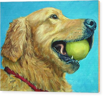 Golden Retriever Profile With Tennis Ball Wood Print by Dottie Dracos