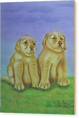 Wood Print featuring the painting Golden Retriever by Thomas J Herring